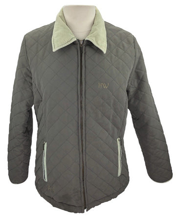 front view of Horseware Quilted Corduroy Collar Jacket in Olive