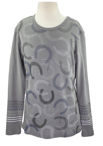 Kerrits Hoof Print Long Sleeve in Grey