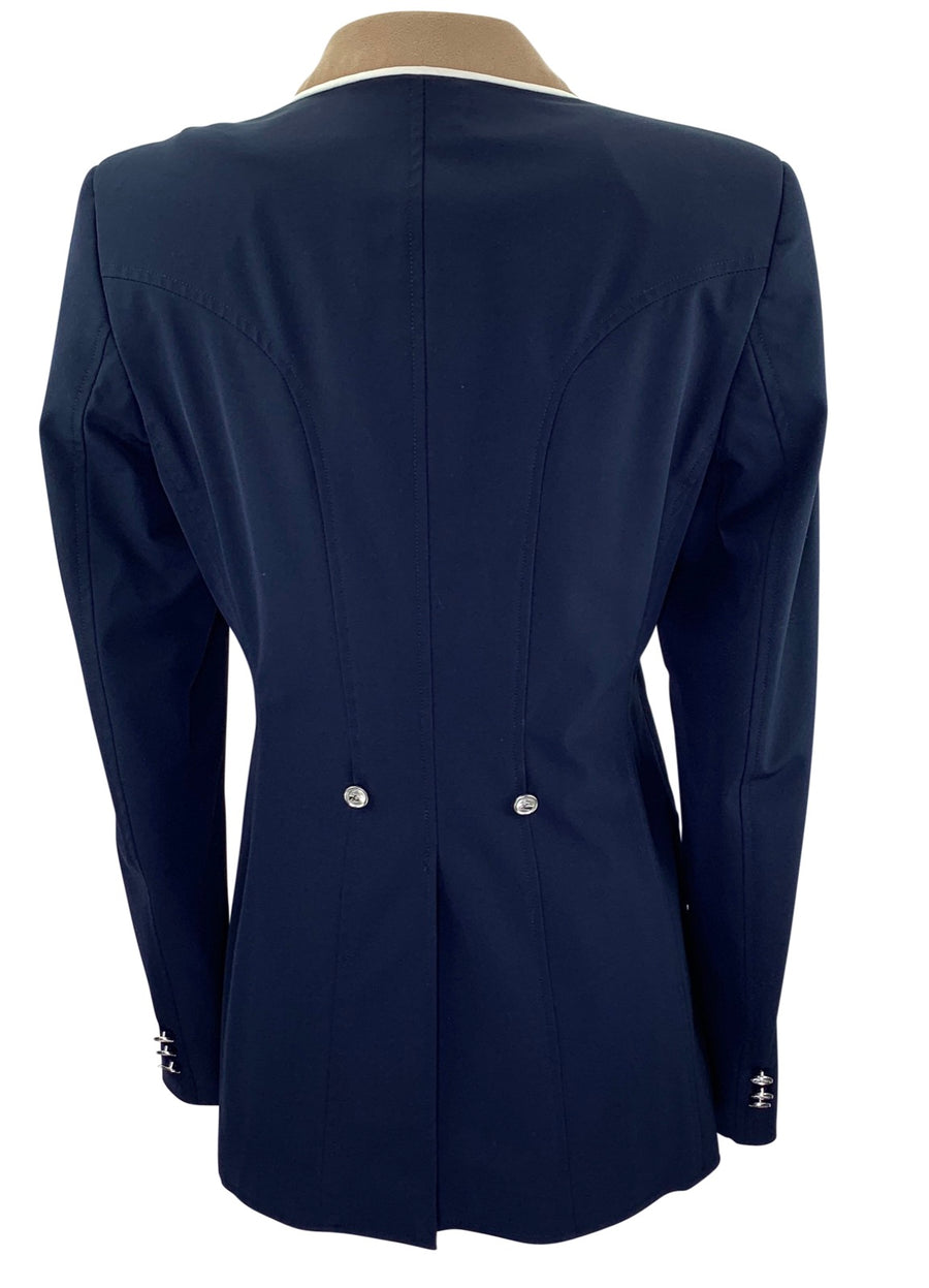Back of Grand Prix Soft-Shell Competition Jacket in Navy/Tan Collar