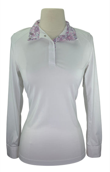 Dover Saddlery CoolBlast Show Shirt  in White/Pink Floral Collar