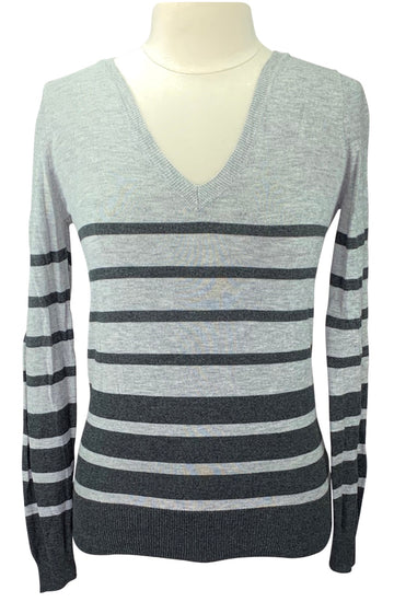 Mossimo V-Neck Sweater in Light Grey/Dark Grey Stripes