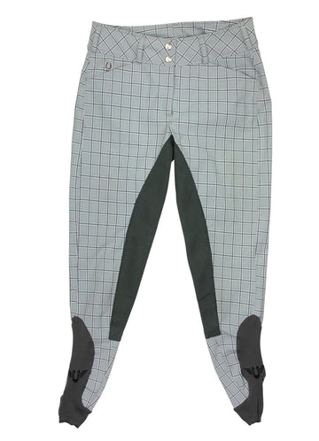 front view of TuffRider Piaffe Full Seat Breeches in Plaid/Charcoal