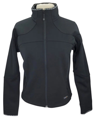 front view of Kerrits Soft-Shell Fleece Zip Jacket in Black