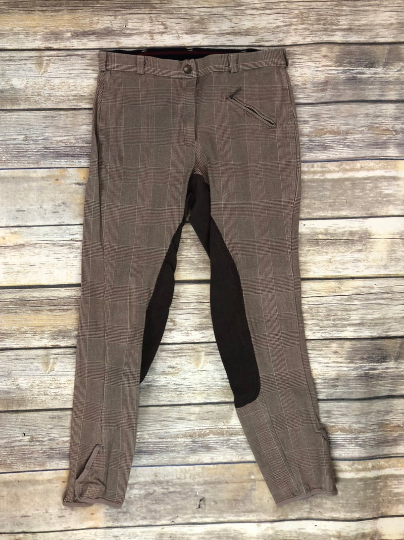 Dover Saddlery Full Seat Breeches in Brown Plaid - Women's 30