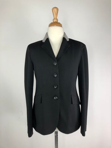 Grand Prix TechLite Jersey Hunt Coat in Black/Grey Collar -  Front View