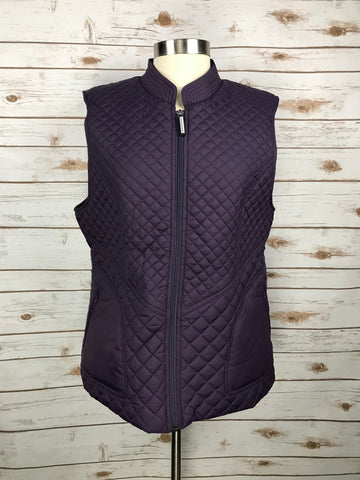 Asmar Equestrian Icon Quilted Vest in Plum- Front View