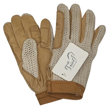 Heritage Crochet Riding Gloves in Tan/White