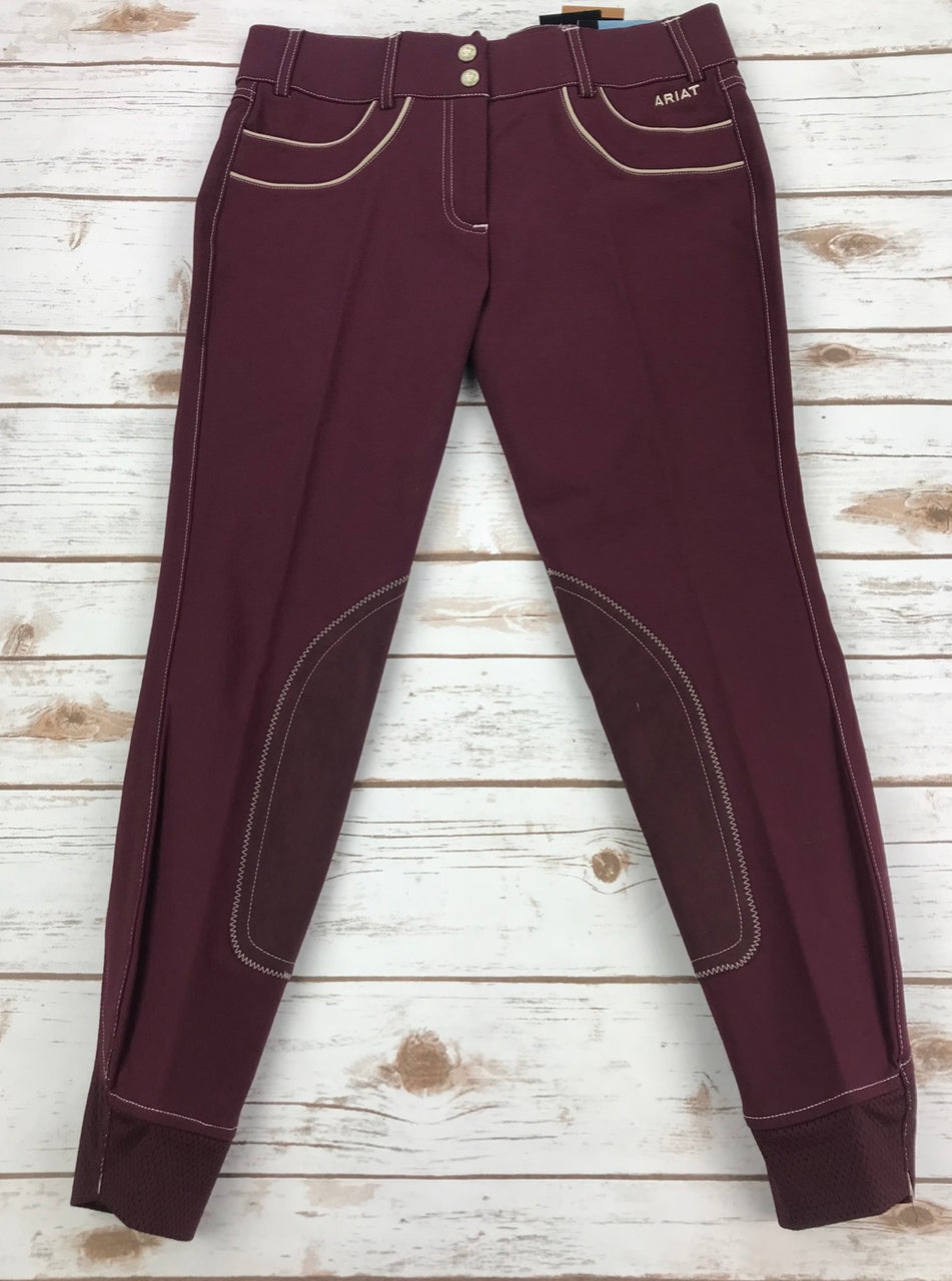 Ariat Olympia Acclaim Regular Rise Full Seat Breeches in Malbec - Women's 32R