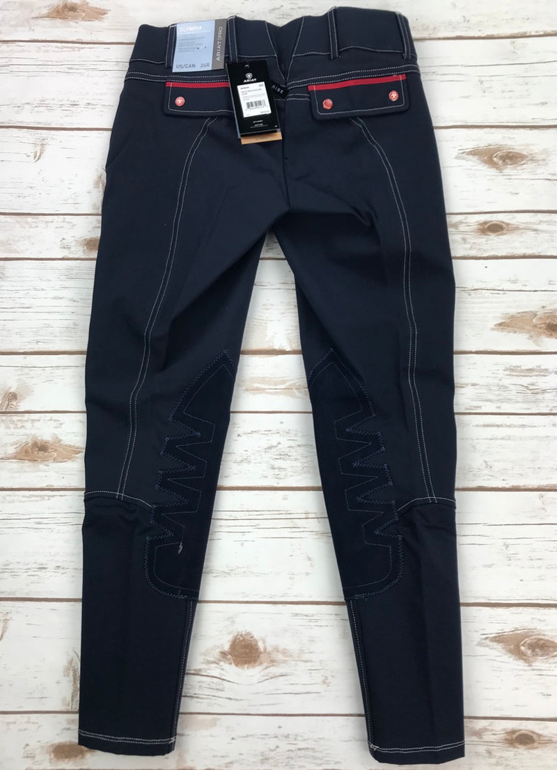 Ariat Olympia Acclaim Low Rise Knee Patch Breeches in Team Navy - Women's 28L