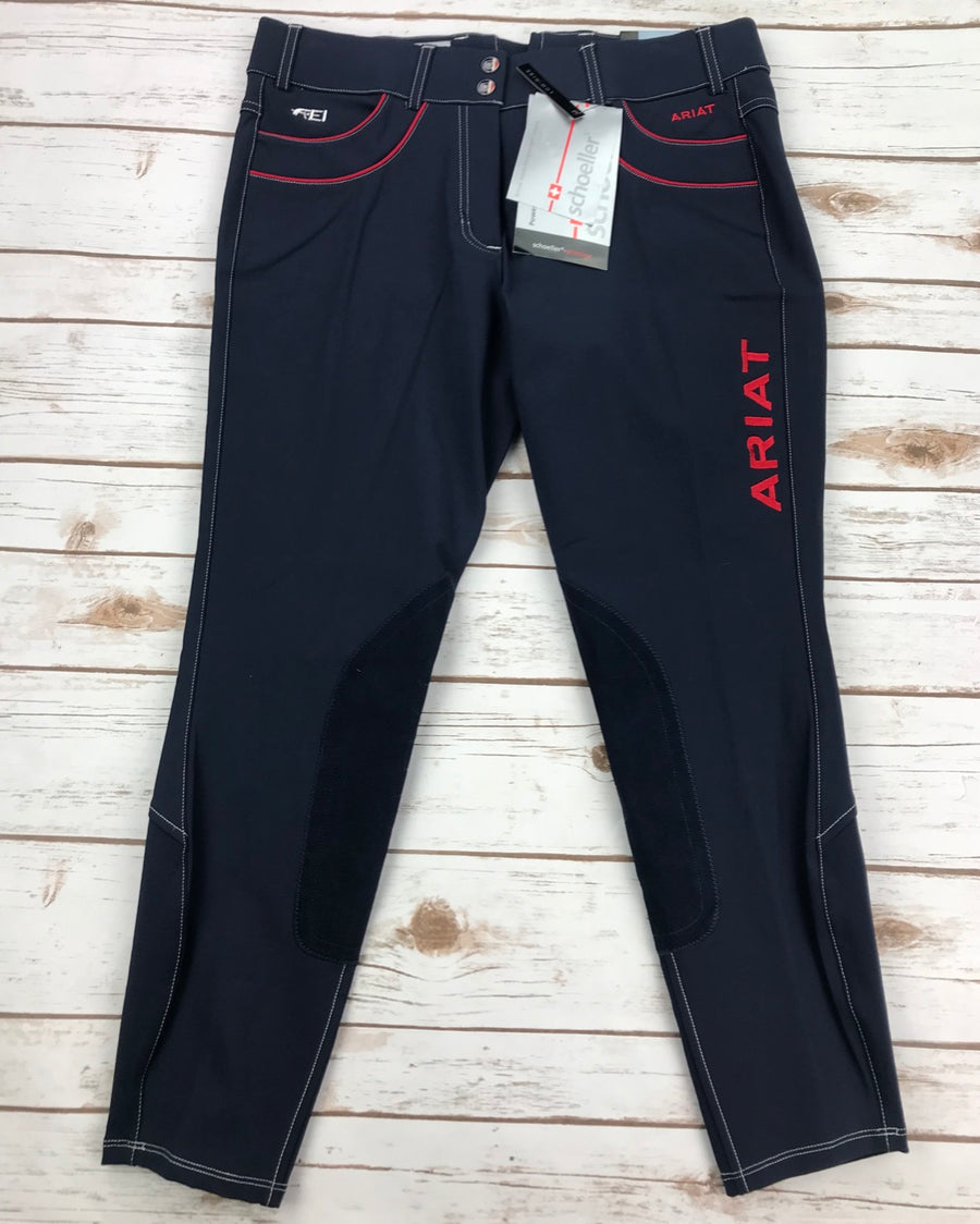 Ariat Olympia Acclaim Low Rise Knee Patch Breeches in Team Navy- Front View