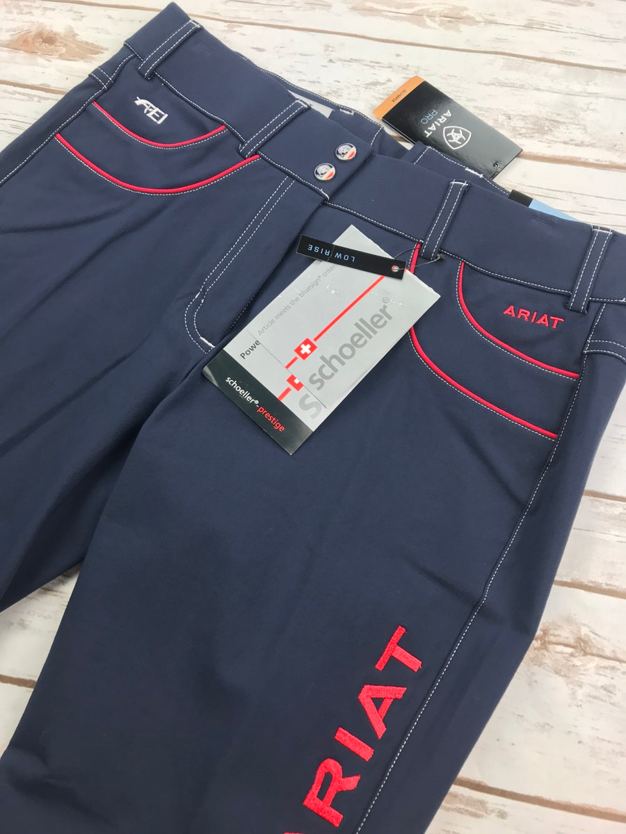 Ariat Olympia Acclaim Low Rise Knee Patch Breeches in Team Navy- Front Pocket View