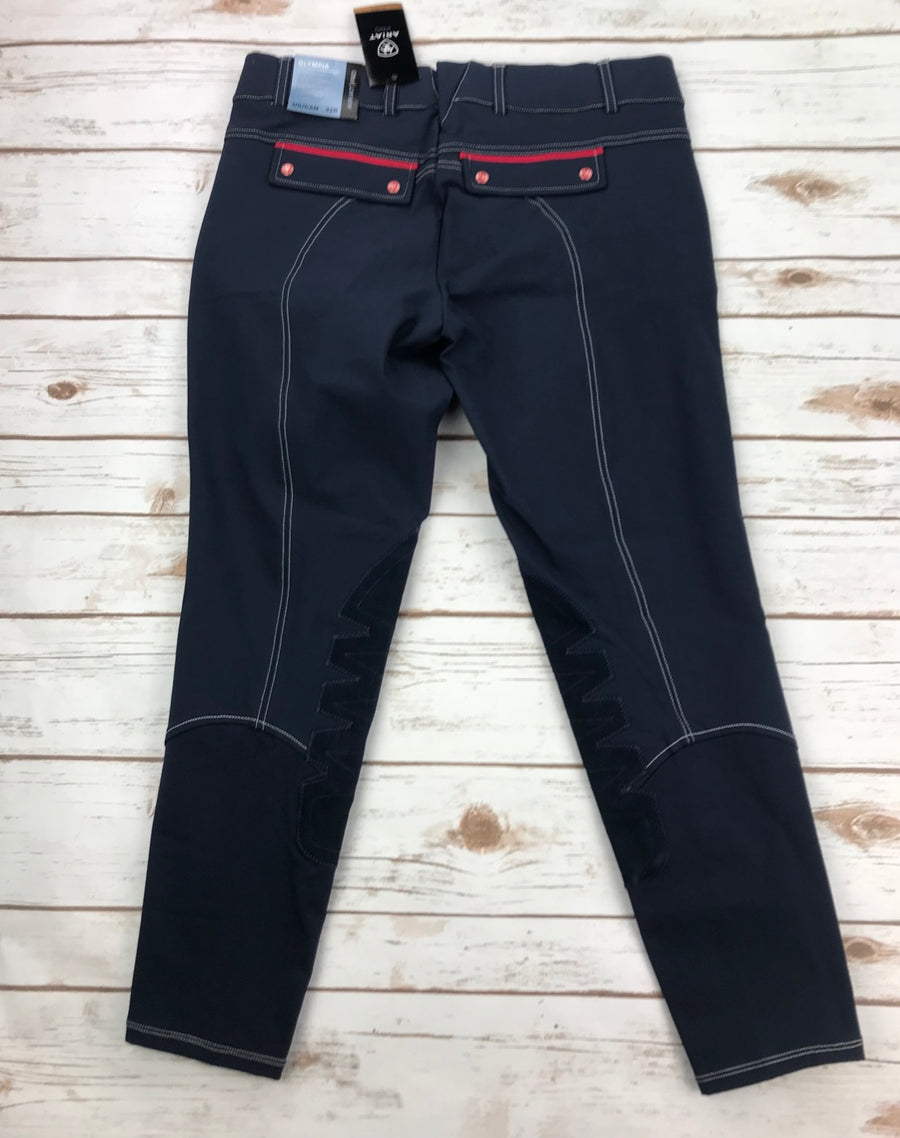 Ariat Olympia Acclaim Low Rise Knee Patch Breeches in Team Navy- Back View