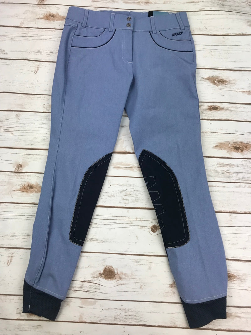 Ariat Olympia Acclaim Low Rise Knee Patch Breeches in Chambray - Women's 26L