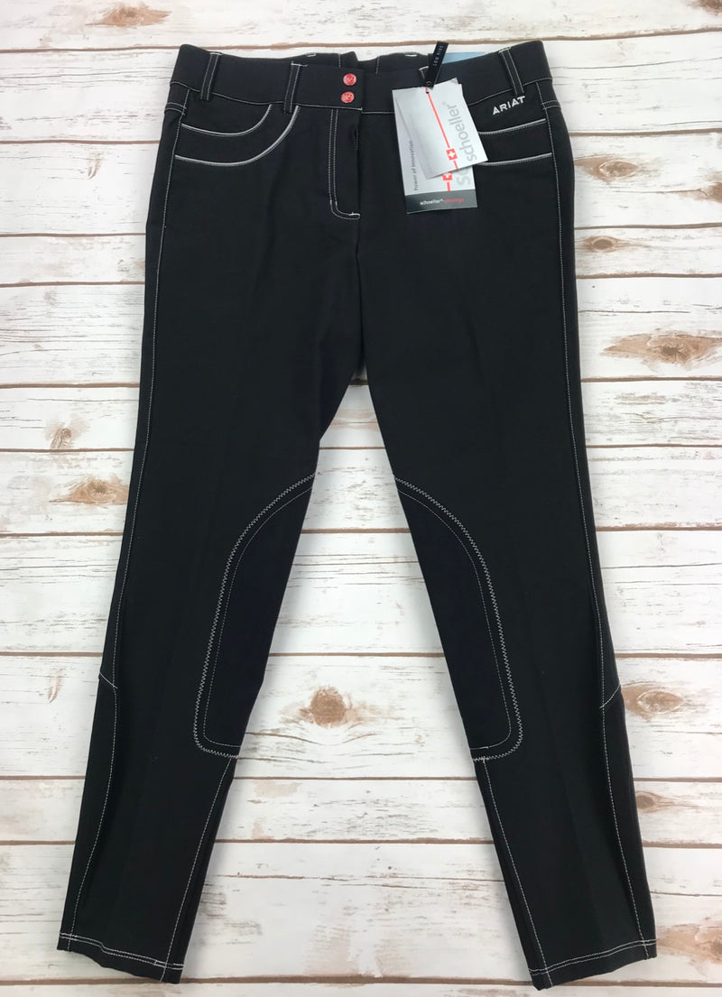 Ariat Olympia Acclaim Low Rise Knee Patch Breeches in Black/Alloy - Women's 32L