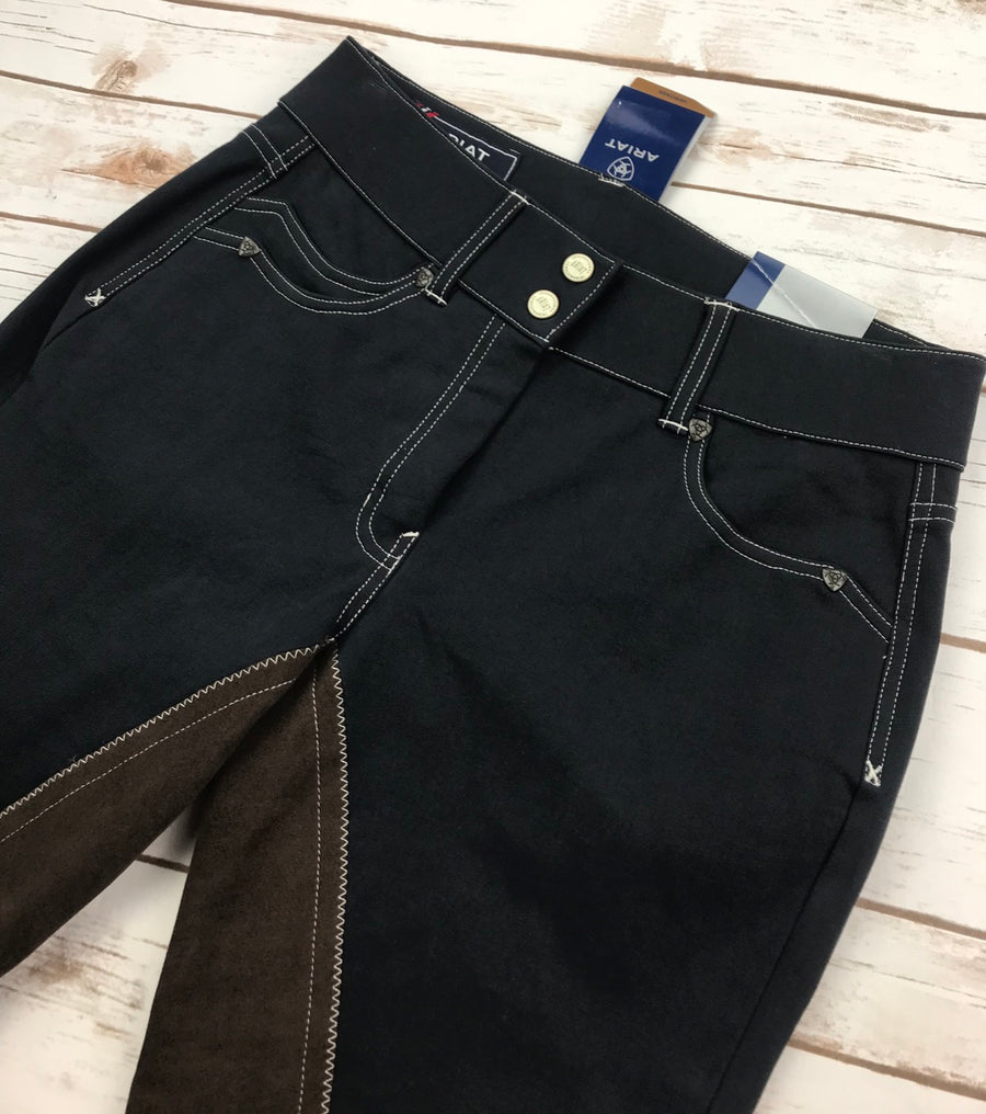 Ariat Heritage Fashion 5 Pocket Full Seat Breeches in Navy- Front Close Up View