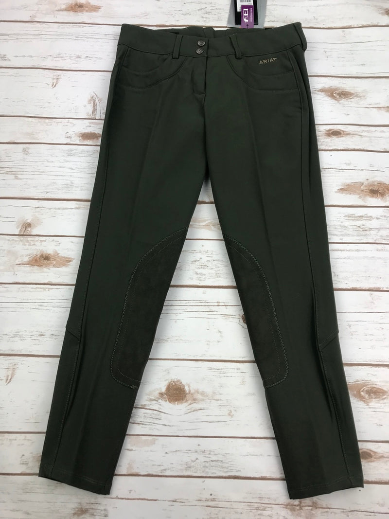 Ariat Olympia Knee Patch Breeches in Brine Olive - Women's 26R