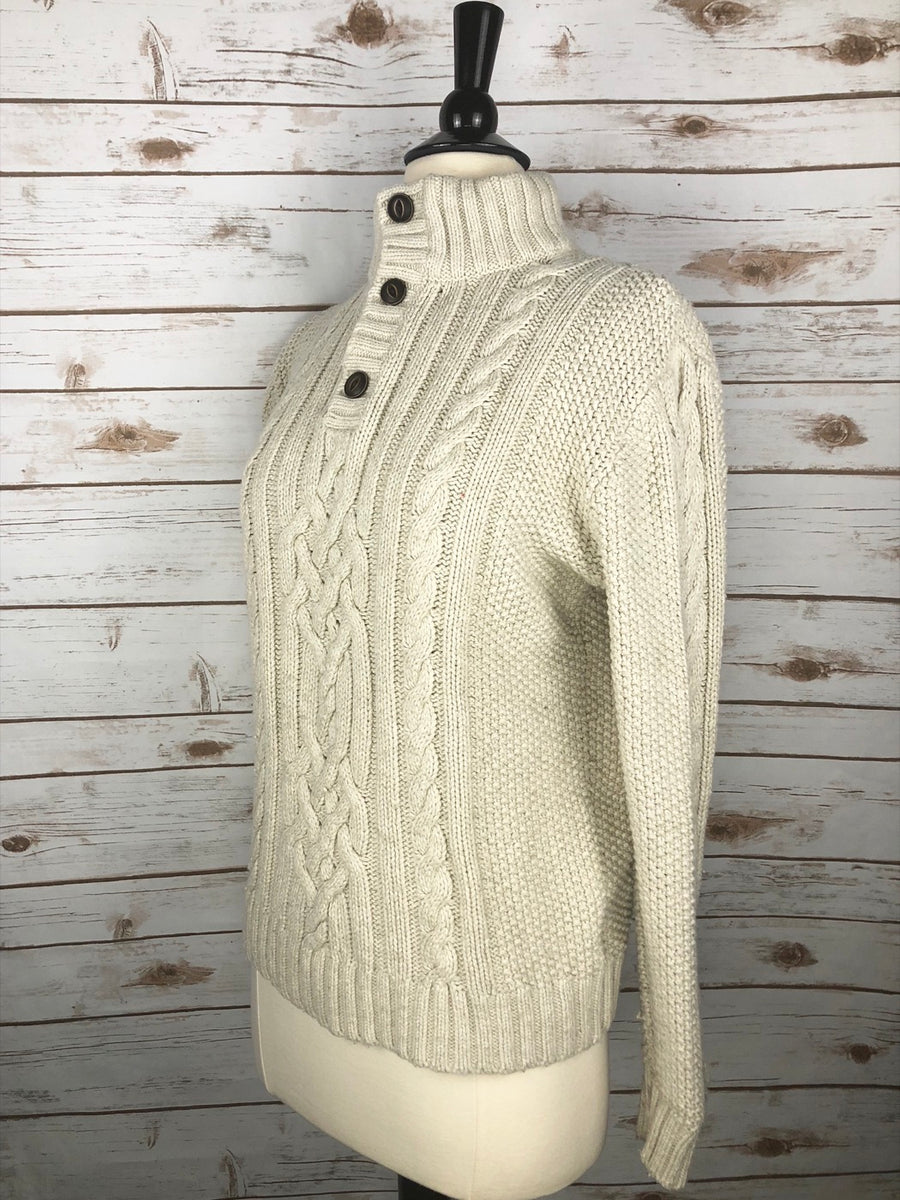 Gap Kids Cable-Knit Mock Neck Sweater in Cream - Left Side View