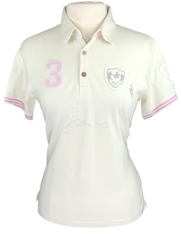 front view of Joules Polo in Ivory/Light Pink