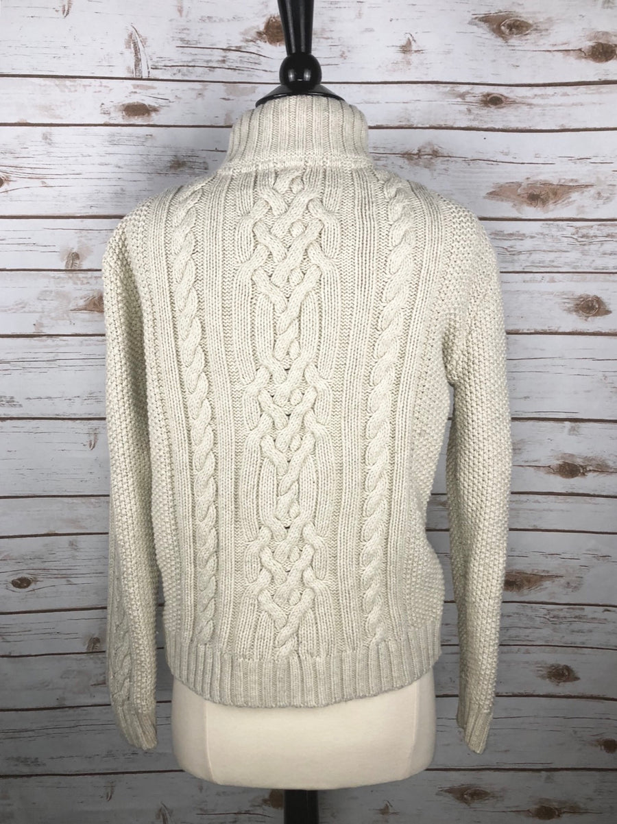 Gap Kids Cable-Knit Mock Neck Sweater in Cream - Back View
