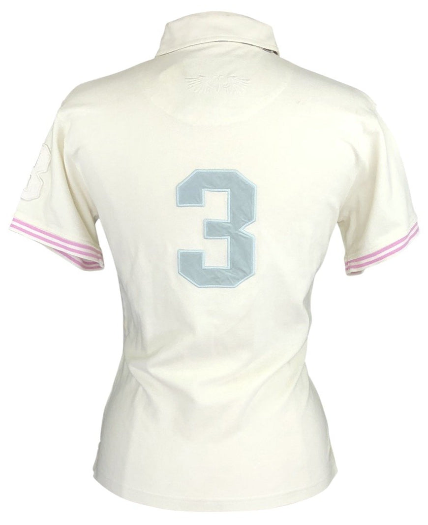 back view of Joules Polo in Ivory/Light Pink