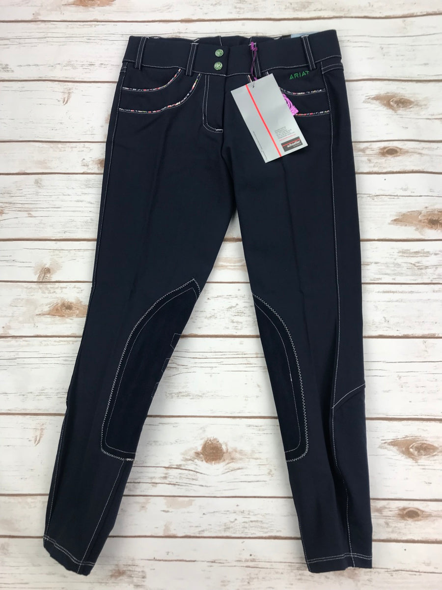 Ariat Olympia Acclaim Low Rise Knee Patch Breeches in Navy- Front View