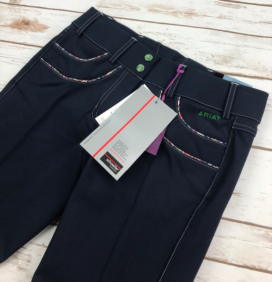 Ariat Olympia Acclaim Low Rise Knee Patch Breeches in Navy- Front Pocket View