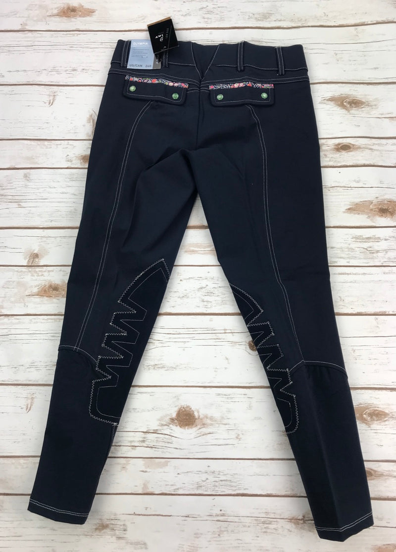 Ariat Olympia Acclaim Low Rise Knee Patch Breeches in Navy Liberty - Women's 24R