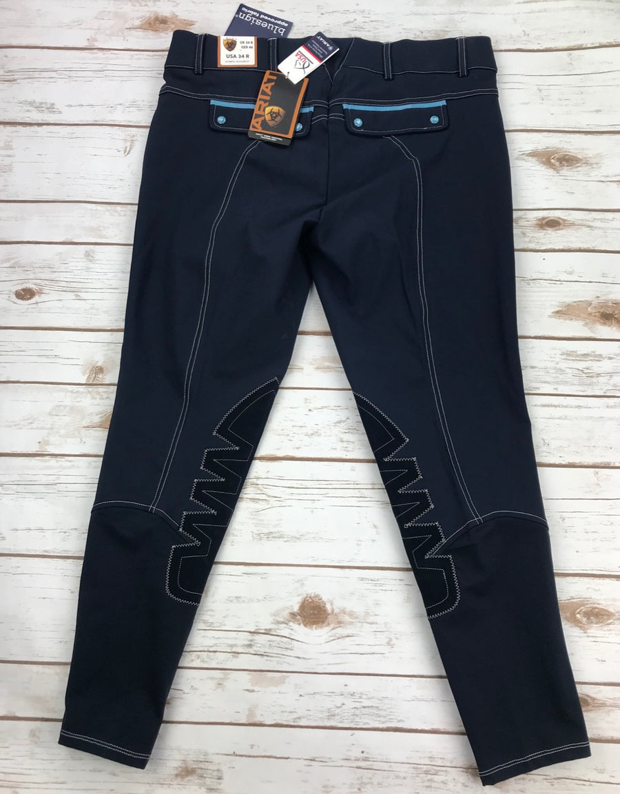 Ariat Olympia Acclaim Low Rise Knee Patch Breeches in Navy- Back View