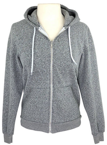 front view of De La Coeur Zip Up Hoodie in Pepper Grey