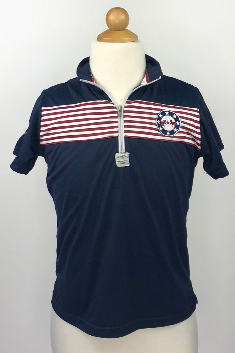 Equine Couture Patriot Short Sleeve Polo in Navy - Children's Large