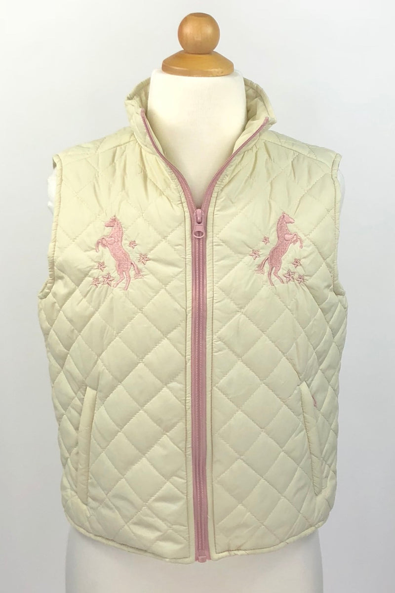 Shyanne Quilted Vest in Cream/Pink - Girls Large