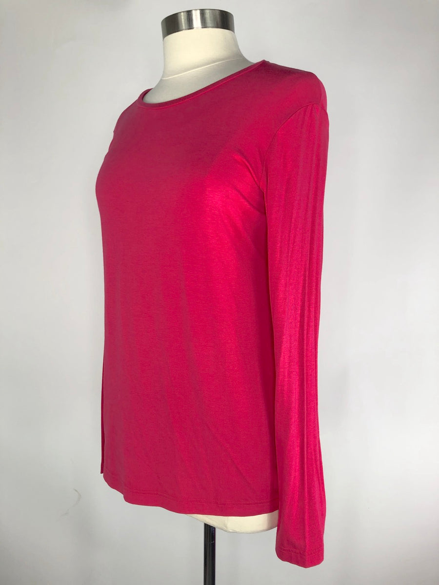 Asmar Equestrian Bamboo Long Sleeve Crew in Punch- Left Side View