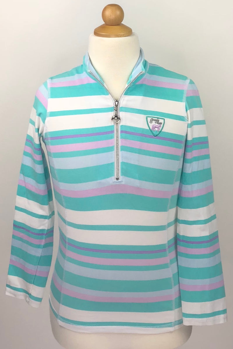 Goode Rider Long Sleeve Ideal Zip Shirt in Teal/Purple Stripe - Children's 10