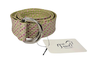 rolled view of RJ Classics Reversible Ribbon Belt in Green Box