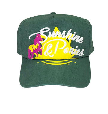 full view of Spiced Equestrian 'Sunshine and Ponies' Hat in Green
