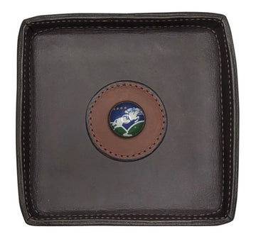 top view of Rebecca Ray Leather Valet Tray in Dark Brown