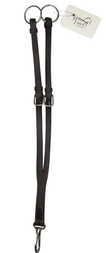 full view of Leather Adjustable Running Martingale Attachment in Dark Brown