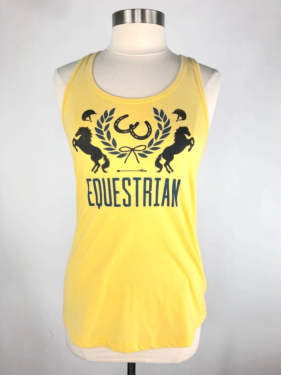 Spiced Equestrian Crest Tank in Lemon - Women's L
