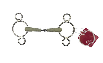 full view of Happy Mouth® Jointed Ribbed Mouth 2-Ring Gag Bit