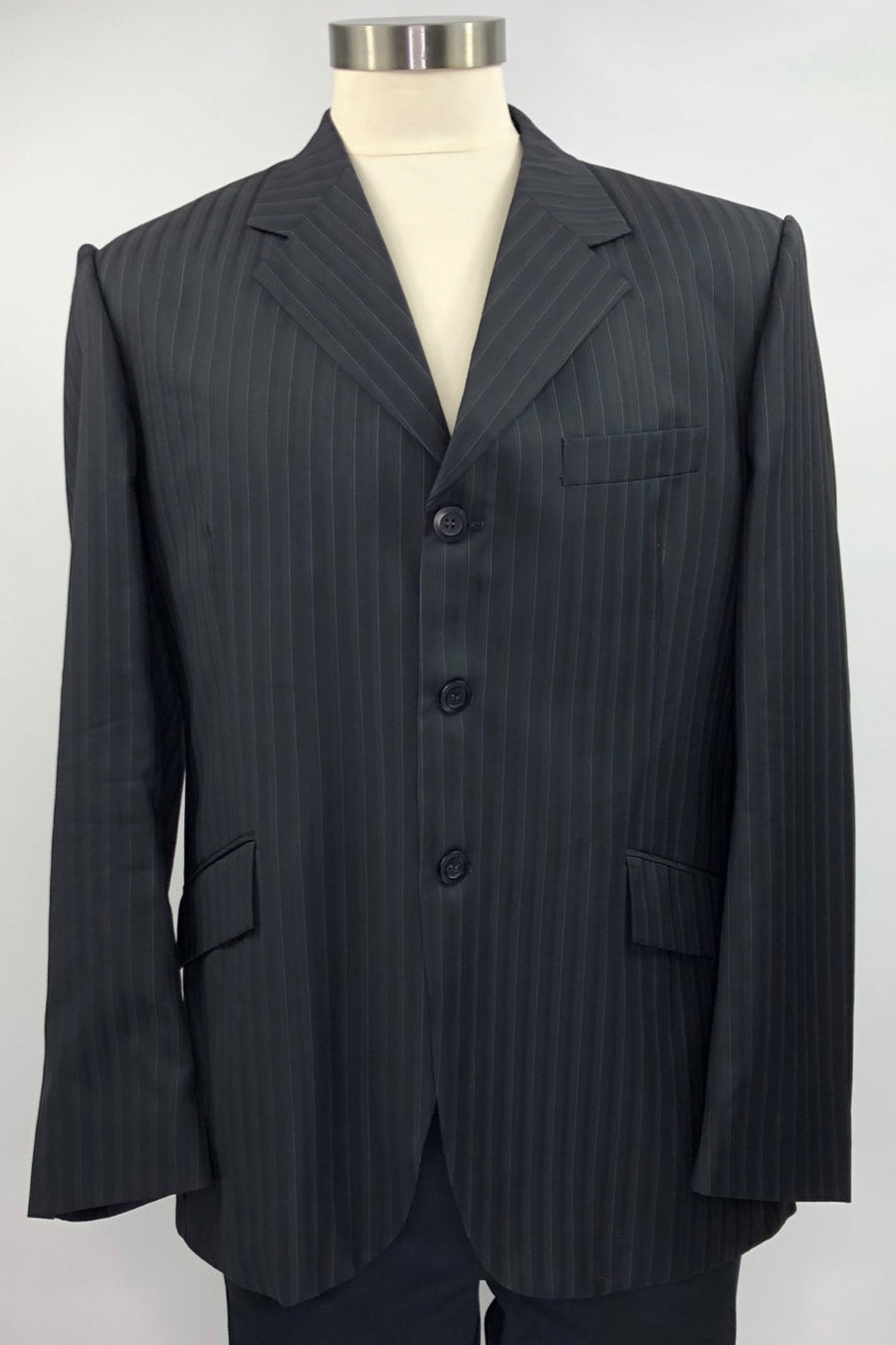 Grand Prix Hunt Coat in Black Pinstripe -Front View