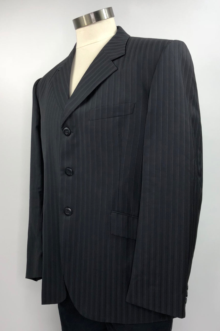 Grand Prix Hunt Coat in Black Pinstripe -Left Side View