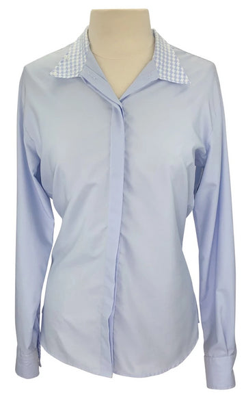 front view of RJ Classics Classic Cool Prestige Show Shirt in Blue/White
