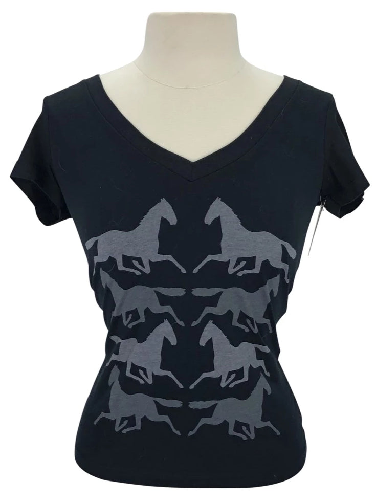 front view of One Horse Threads Running Horse Tee in Black