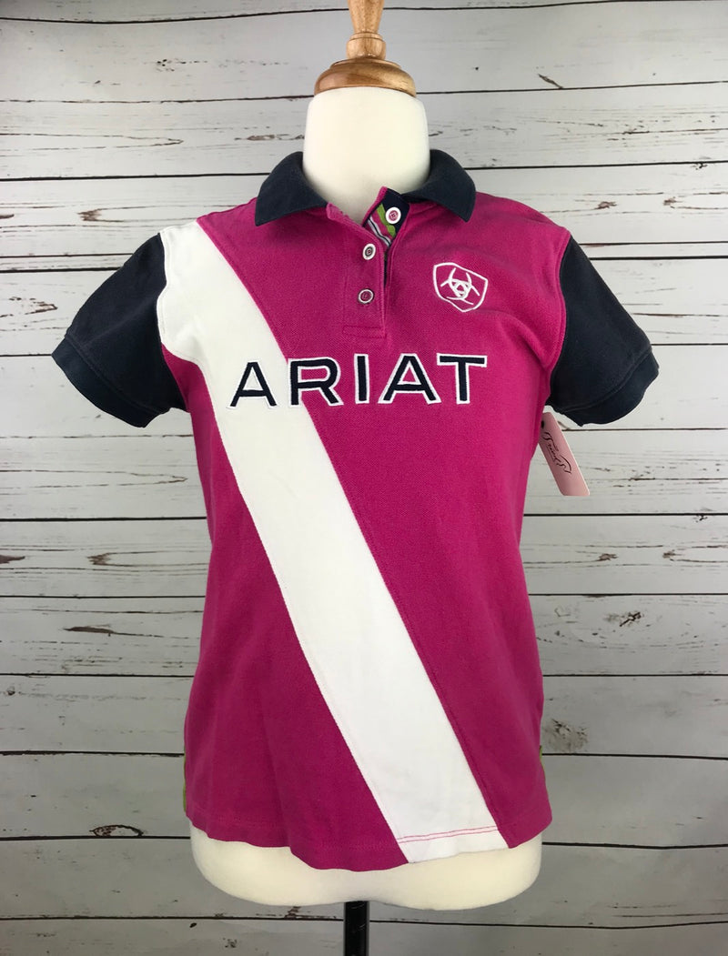Ariat Team Polo in Pink/Navy/White - Children's XL