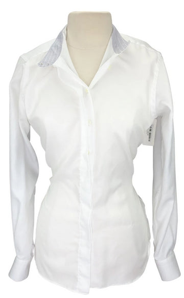 front view of HABiT Notched Collar Show Shirt in White/Grey Stripe