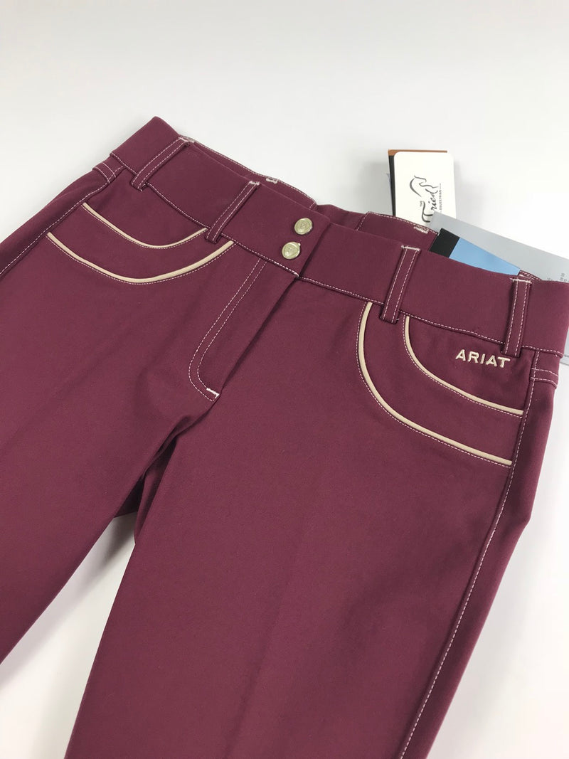 Ariat Olympia Acclaim Low Rise Knee Patch Breeches in Malbec - Women's 28R