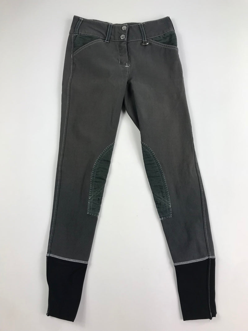 Equine Couture Sportif Natasha Breeches in Charcoal/White - Women's 24R