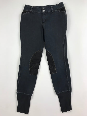 Equine Couture Sportif Natasha Breeches in Black/Tan - Front View