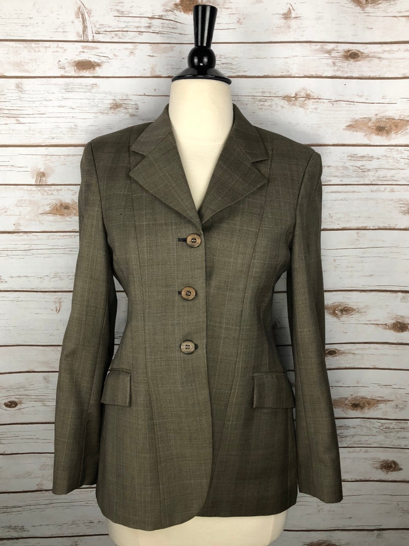 Grand Prix Extreme Stretch Hunt Coat in Olive/Brown Plaid - Women's 10R (US 4R)