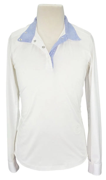 front view of Essex Classic Talent Yarn Show Shirt in White/Blue Multi Collar